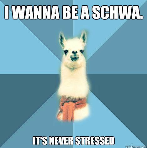 Quiero ser una schwa, nunca está acentuada /